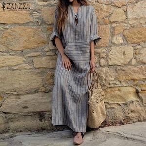 Dresses & Skirts - Striped V-Neck Loose Vintage Maxi Long Dress